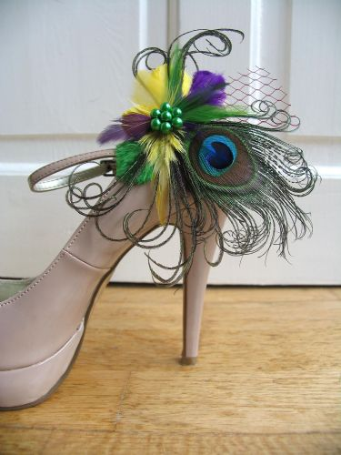 "Yellow Green Purple  Peacock Feather ""Liz"" Shoe Clips Mardi Gras"